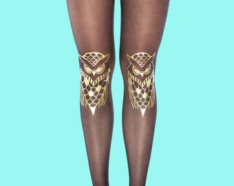Owls gold tights available in S-M, L-XL, gift ideas