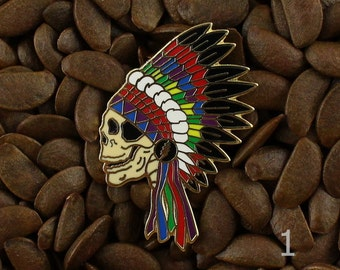 Grateful Dead Pins Native American Indian Headdress Skull Pin