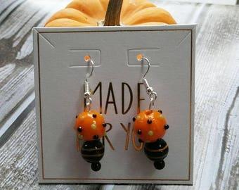 Halloween Lampwork Glass Dangle Earrings