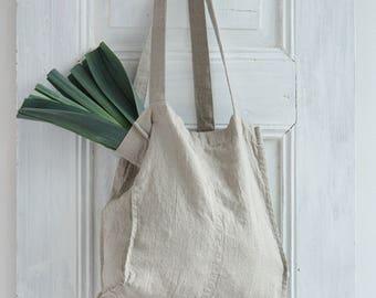 Linen Tote Bag - Natural Linen Tote Bag - Organic Bag - Linen Shopping Bag - Linen Shoulder Bag - Linen Beach Bag - Undyed Linen Tote Bag