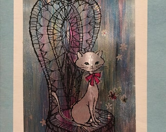 Vintage Birthday Card , Sweetheart, Siamese Cat, Mid Century