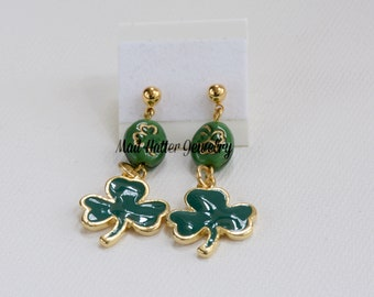Green & Gold Shamrock Earrings