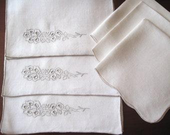 3 Vintage Linen Madeira Placemats w/3 Coordinated Linen Napkins