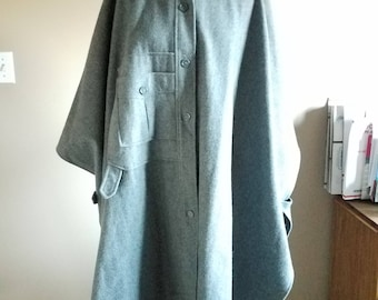 Dramatic Vintage Grey Wool Cape