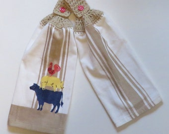 Pig Cow Rooster Crochet Top Kitchen Hand Towel Set of 2