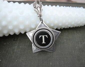 Typewriter Key Jewelry - Antique Typewriter Key Necklace - Letter T - Star