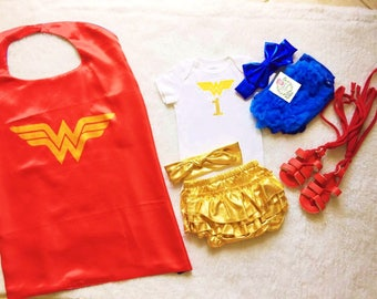 Ship in 24 hours,Wonder Woman cape,Wonder woman Bodysuit,Superhero costume, Wonder woman,Birthday,Birthday superhero,One year Wonder Woman