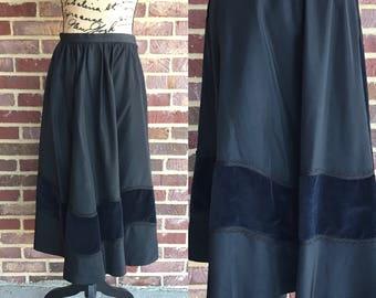 Vintage 1930s early 1940s Cabana black evening taffeta and velvet skirt 26 inch waist // 30s 40s classy evening wear