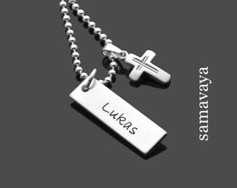 Name chain be blessed 925 silver necklace with engraving for baptism confirmation communion