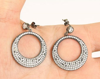 Solid 925 Sterling Silver topaz  hoop earrings
