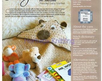 hooded blanket  dk crochet pattern 99p