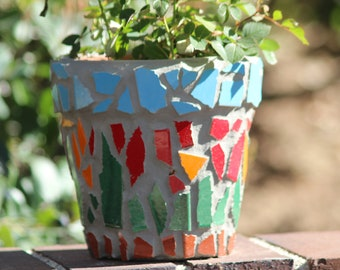 mosaic flowerpot with broken tile and grout