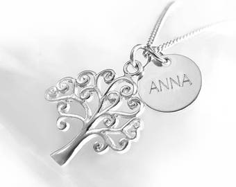 Open Work Tree Pendant Necklace, Personalized Silver Jewelry, Initial Tag Necklace, Two Charms, Engraved Disc Necklace, Gift Idea