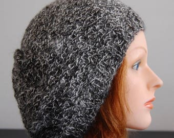 Natural RIAF Soft Warm Hand Crafted Alpaca Slouchy Beanie Hat, Black and White