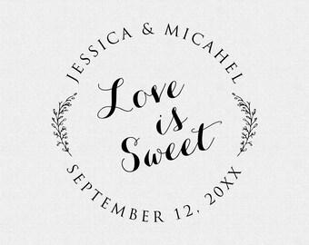 Love Is Sweet Stamp, Wedding Stamp, Wedding Decor, Wedding Favor, Self Inking Stamp, Wood Handle, Circle Stamp, Floral, Branch, Vines (T133)