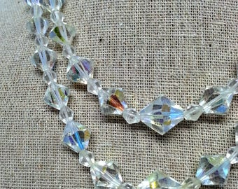 Aurora Borealis Bead Necklace, Vintage AB Glass Double Strand Choker & Rhinestones Costume Jewelry