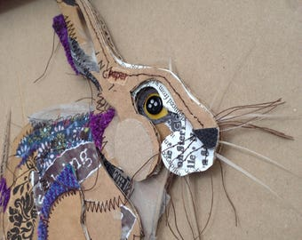 Sitting Hare with Purple Harris Tweed Highlights, March Hare, Mixed Media, Contemporary Framed Hare,