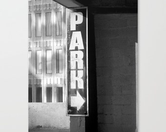 Urban Black and White Photo Parking Sign