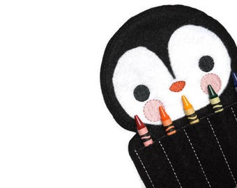 Penguin Crayon Holder | Felt Crayon Holder | 5 Slot | Crayon Roll | Coloring | Eco Friendly | Educational | Quite Play | Stocking Stuffer