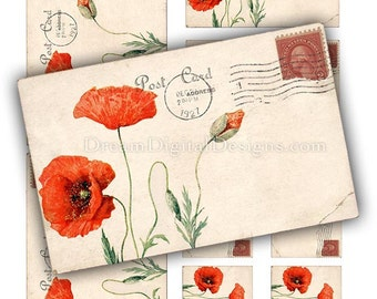 Red Poppies Printable Digital Collage Sheet, Poppy Flowers, Vintage Postcards Instant Download