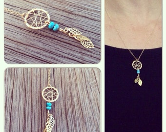 Dream catcher necklace gold filled