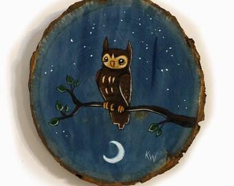 Owl at Night Painting - Original Wall Art Acrylic Small Painting on Wood Cut by Karen Watkins - Owl on Branch Miniature Wall Art