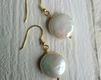 Freshwater Cultured Pearl Gold Plated Sterling Silver Drop Earrings
