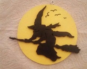 Wooden Witch on broomstick ornament or magnet