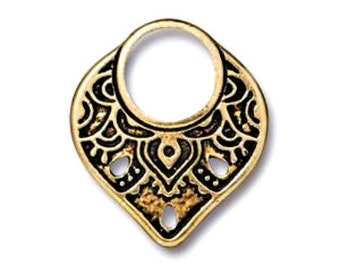 Antiqued Gold Plated Temple Ring Link (21x18mm), TierraCast Made in the USA (1/2/4pc) Jewelry Components & Findings, Boho Charm Bead Supply
