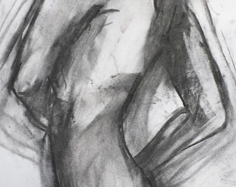 Original sketch, girl with golden hair, 2585