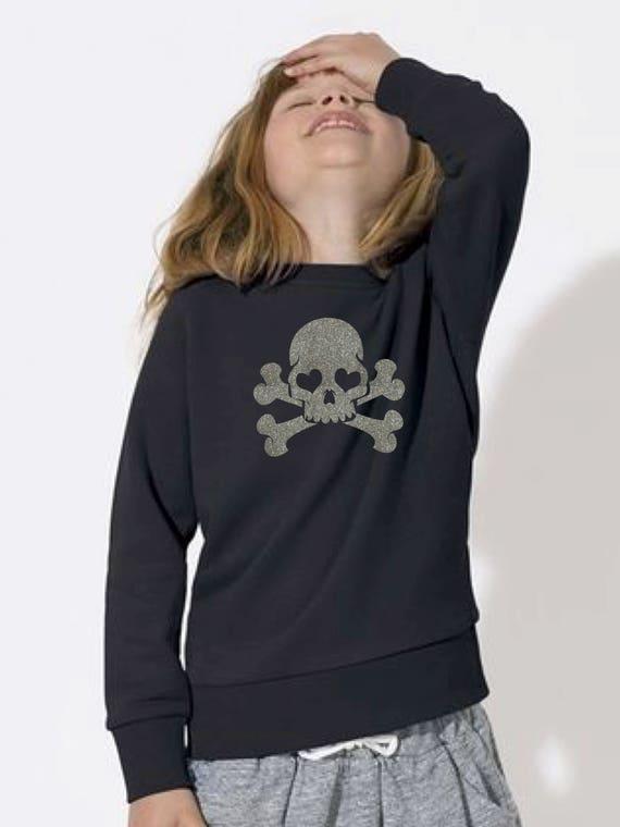 Girl sweater GLITTER SKULLS