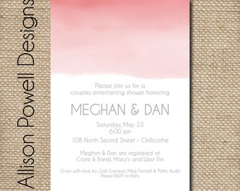 Pink Ombre Watercolor Bridal Shower/Luncheon Elegant Invitations - Print your own