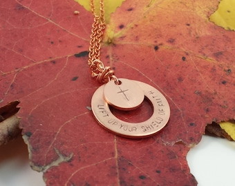 Shield of faith etsy lift of your shield of faith hand stamped christian jewelry cross necklace aloadofball Images
