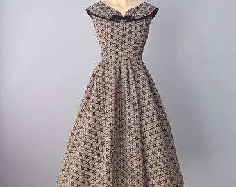 1950s Party Dress...BOBBIE BROOKS Black and White Check Flocked Taffeta Party Dress