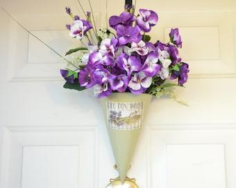 Purple Pansy Wall Pocket - purple pansies - Summertime Decor - wreath alternative - front door decor