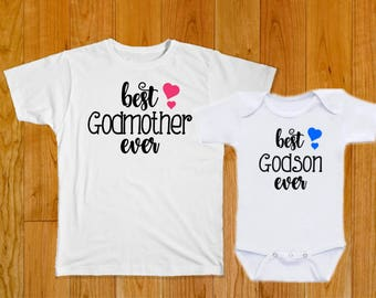 Godson Shirt - Godmother Shirt - Godson Gift - Godmother Gift - Baby Shower Gift - Baptism Gift - Christening Gift - Baby Boy Clothes