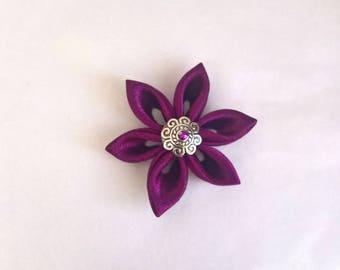 Flowers kanzashi handmade plum colored satin