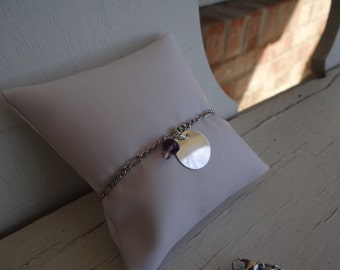 Custom Stamp Bracelet with Silver Disk, Purple Beads and a Figaro Chain