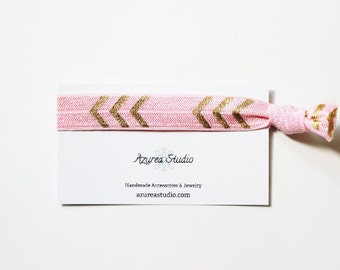 Light Pink Gold Arrows Hair Tie