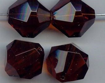 6 Vintage Smoked Topaz Acrylic 21mm. Faceted Beads 6039