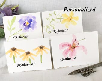 Painted Watercolor Flower Cards - Floral Notecards Hand Painted - Original - Personalized - Peony, Lily, Clematis, Coneflower - 4 Notecards