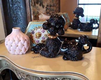 Hollywood Regency Circa 1960 Black Ceramic Poodle collectable home decor