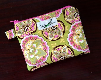"""7""""x5"""" Tab-Handled Wetbag ~ Lotus Cotton with PUL Lining ~ by Talulah Bean"""