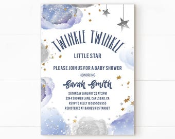 Twinkle twinkle little star invitation, twinkle twinkle little star baby shower, star baby shower invitation, twinkle twinkle little star