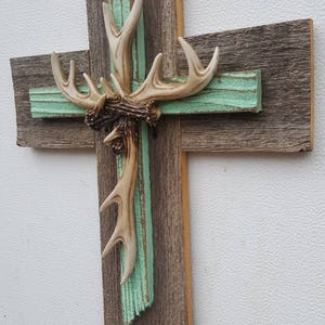 NEW! Unique Rustic Mint green Country Deer Antler Cross Hanging Decor Repurposed Recycled Wall Cross Cedar Wood GREAT Gift For Hunter!