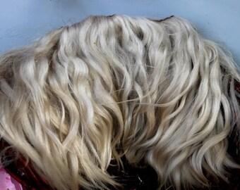 Eco natural Fair-haired goatskin angora mohair locks perfect doll hair