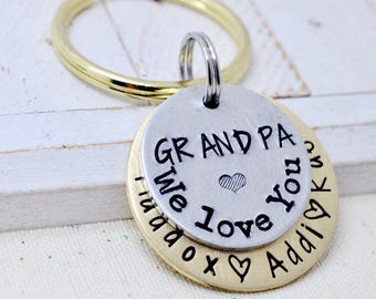 Gift for Grandpa, Grandpa Keychain, Grandfather Gift, Grandpa Gift, Gift for Papa, Papa Keychain, Personalized Grandpa Keychain, Key Chain