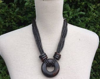 Vintage wood beads necklace with lobster clasp.