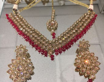 Indian polki style ruby drops necklace set