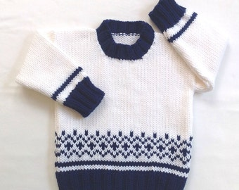Toddler sweater - 12 to 24 months - Fair Isle baby sweater - Hand knit baby clothes - Infant sweater - Toddler Fair Isle knit sweater